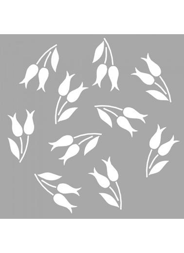 Artikel Selene Çiçek Motifi Stencil Tasarımı 30 x 30 cm Renkli